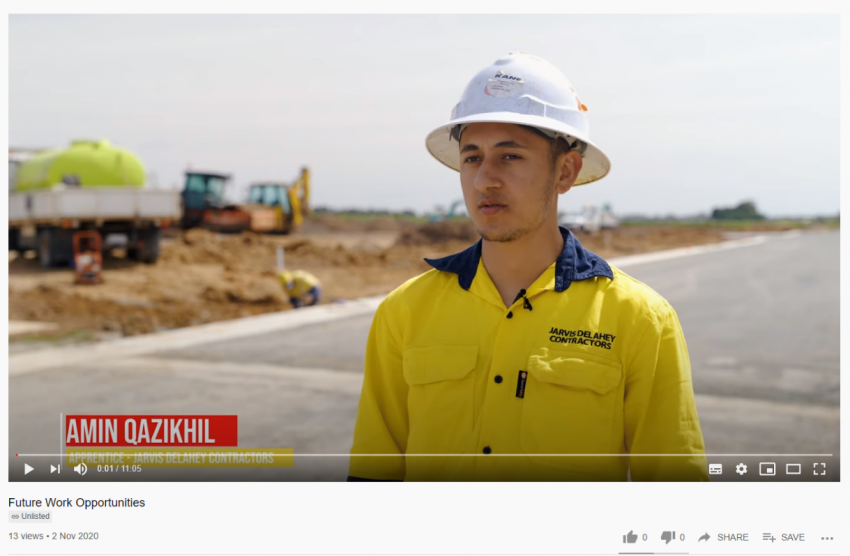 A snippet from a Youtube video featuring young construction workers